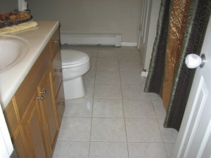 Dirty grout joints really close this smaller bathrooom in...